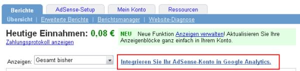 AdSense Link zu Analytics