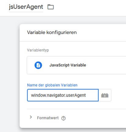 User Agent als Tag Manager Variable