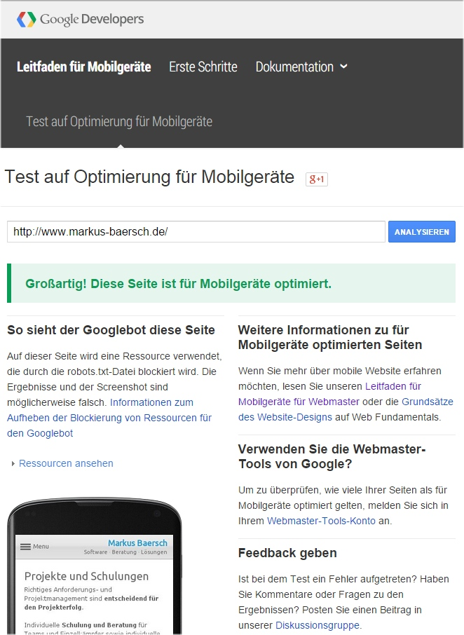 Ja oder Nein: Google Mobile Friendly Test