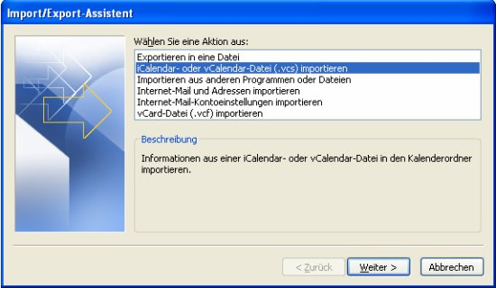 vCalendar in Outlook importieren